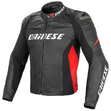 Dainese Racing D1 Leather Motorcycle Motorbike Sprots Jacket - Black / Red